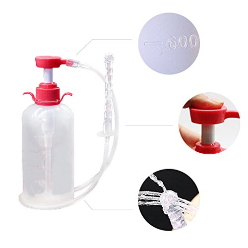 600 ML Personal Silicone Medical-grade PVC Enema Bulb Bucket Anal Colon Douche Cleaner Kits Equipment Tool System for Adult Women Men with Hand-pressure Pump 3 Nozzles 12 cm Flexible Showerhead