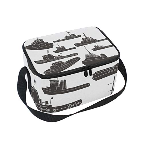 Black And White Tugboat Clipart Large Capacity Insulated Lunch Tote Bag Portable Travel Picnic School Handbag Cooler Warm Lunchbox for Kids Children Girls Boys Women Men ()