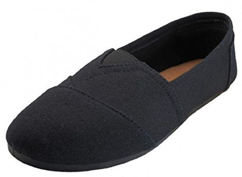 EasySteps Women's Canvas Slip-On Shoes with Padded Insole, All Black, 8 B(M) (Canvas Slip Ons Womens Shoes)