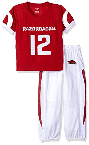 FAST ASLEEP NCAA Arkansas Razorbacks Boys Toddler/Junior Football Uniform Pajamas, Size 2T, Red/White