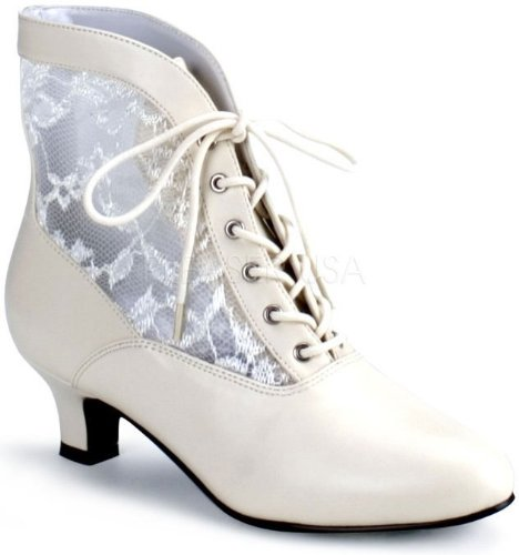 White Victorian Boots (Pleaser Shoes 195950 Victorian Adult Boots Ivory - Size 7)