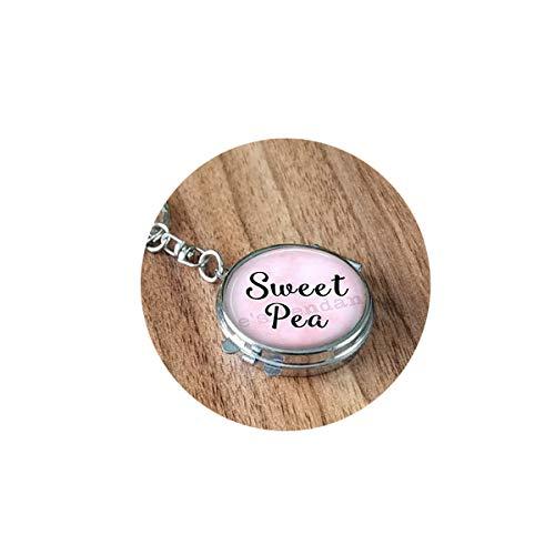 asd Weet Pea -Sweet Pea Jewelry -Gift for Girlfriend- Gift for Daughter -Flower Name Jewelry- Sweetpea Folding Mirror Travel Portable Customized