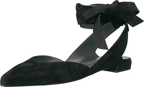 Stuart Weitzman Womens Supersonic Ballet Flat Black Suede