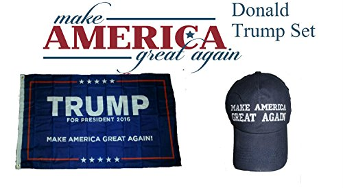ALBATROS 3 ft x 5 ft Donald Trump 2016 President Make America Great Again Blue Hat Flag Set for Home and Parades, Official Party, All Weather Indoors Outdoors