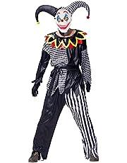 IKALI Clownskostuum ouders en kinderen Halloween Sinister Jester grappig rollenspel Dress Up voor familie-themafeest