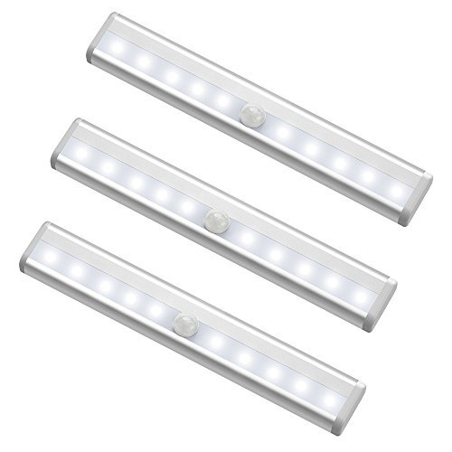 g Closet Lights, MagicBuds Super Bright Stick-on Anywhere Portable 10-LED Wireless Cabinet Night/ Stairs/ Step Light Bar with Magnetic Strip (3 Pack, Battery Operated) ()