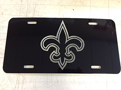 - Diamond Etched New Orleans Saints Car Tag on Aluminum License Plate