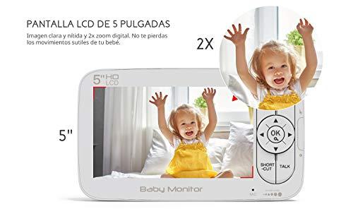 Vigilabebes Inalambrica Con Camara Cooau Video Bebe Monitor Con Pantalla Lcd Hd De 5 Pan 355tilt 120 Ajustable Zoom 2x Vision Nocturna Modo De Dormir Comunicacion Bidireccional