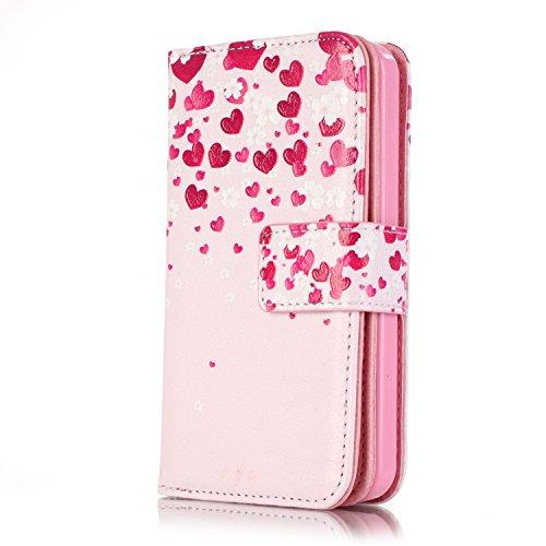 Voguecase® für Apple iPhone 5C hülle, Kunstleder Tasche PU Schutzhülle Tasche Leder Brieftasche Hülle Case Cover (Rot Herzen 05) + Gratis Universal Eingabestift