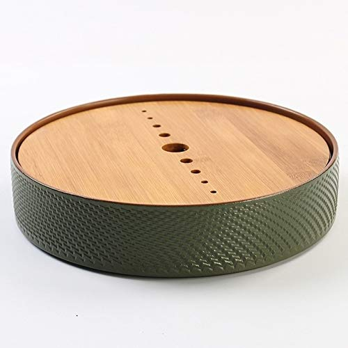 Household Simple Round Bamboo Tea Tray Mini Tea Table, Diameter: 21.5cm (CP28-1) by Zhiyuan