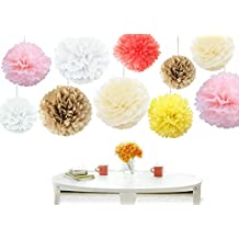 Kubert 18PCS Mixed Sizes 8'' 10'' 14'' Party Crafts Tissue Paper Pom Poms Flowers Kit - Light Pink, white,Coral, yellow , Ivory & gold