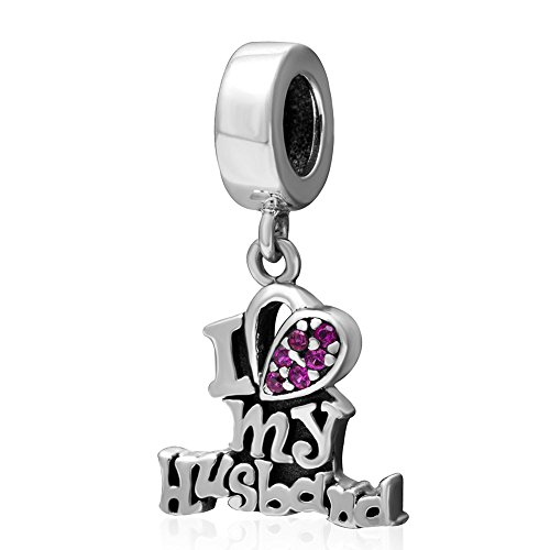 (Everbling Love My Darling Wife Love My Husband Sweet Heart Family 925 Sterling Silver Bead for European Charm Bracelet (I Love My Husband Dangle) )