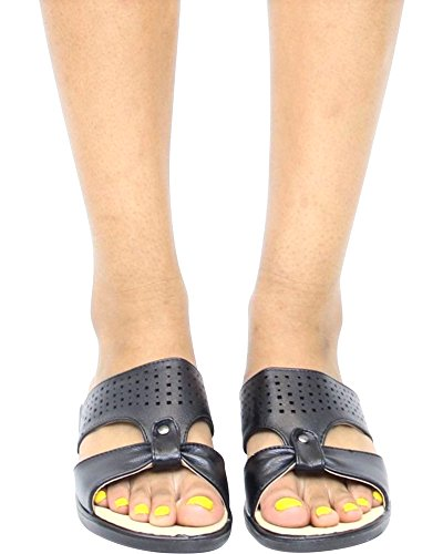 First Sight Womens Soft Laser Cut Comfort Sandal - Black/Black,Black,7.5