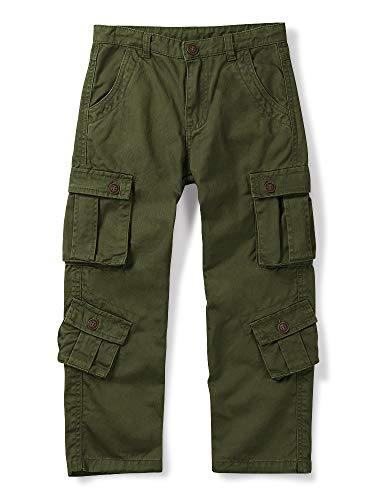 Aeslech Boys' Cargo Trousers, 8 Pockets Casual Outdoor Trip Hiking Pants