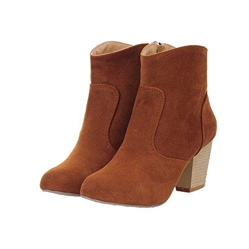 Frosted Zipper Toe Yellow Heels Women's AgooLar Boots Kitten Round Solid Zw1xqT