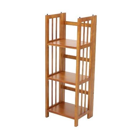 Casual Home 3-Shelf Folding Bookcase, 14-Inch Wide, Honey Oak - Mission Style Corner