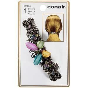 Conair Sophisticates Rhinestone Hair Barrette Pewter (Pack of 6)
