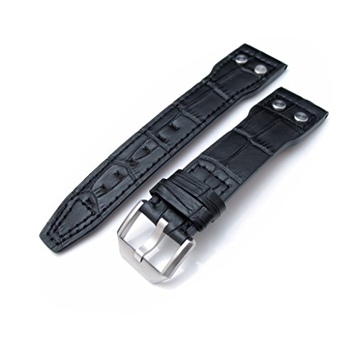 22mm-Black-Leather-Watch-Strap-for-IWC-Big-Pilot-5004-Rivet-Lug-Semi-Square-Tail