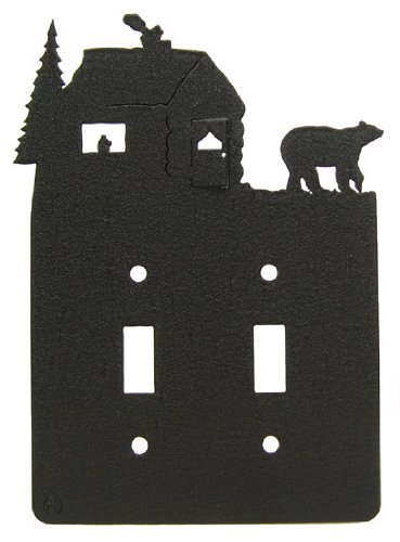 Bear & Cabin Double Light Switch Plate Cover