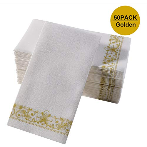 Guest Paper Hand Towels, 12x16Inch Gold Napkins Super Soft Absorbent Bathroom Decorative Towel, Suitable for Multiple Occasion Disposable Dinner Napkin for Weddings, Parties, Powder Room ()