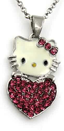 cfc35a9ff seller: Glazed Black Cherry. (0). Sweet Hello Kitty Sweater Chain with  Swarovski Austrian Elements Crystal Pendant Necklace Fashion Jewelry for  Girls