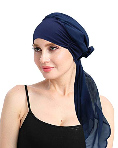 FocusCare Solid Headscarf for Chemo Women Sleep Turbans Hair Loss Headcover Gifts for Chemotherapy Patients Dark Navy