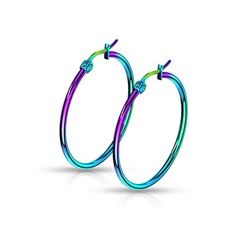 Rainbow Anodized Stainless Steel Rounded Hoop Earrings 20mm-75mm (30mm) ()