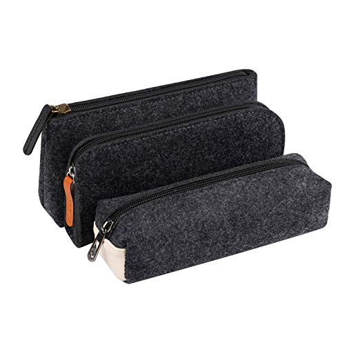 Gray Stationery - Gydandir 3 Pack Stationery Pouch Case Cosmetic Pouch Bag (Dark Gray)