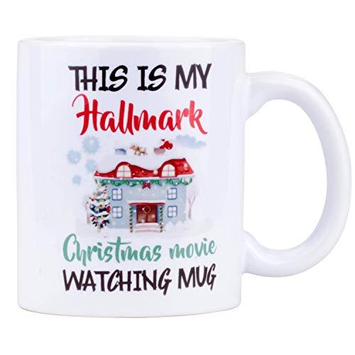 BAKUWE Christmas Coffee mug, Funny Ceramic Cup for Christmas Movie Watching, 11oz