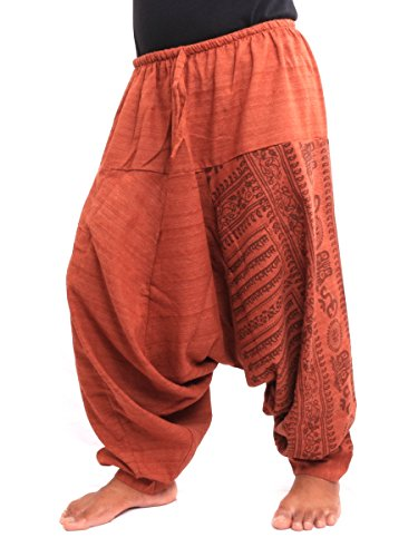 Jing Shop Aladdin Harem Drawcord Baggy Pants Traditional Print Cotton Mix Orange (Aladdin Harem)