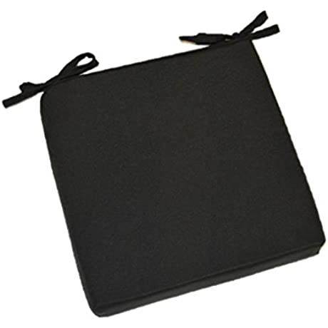 Indoor Outdoor Solid Black Square Universal 3 Thick Foam Seat Cushion With Ties For Dining Patio Chair Choose Size 21 X 20