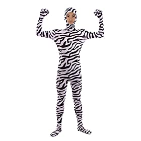 Sheface Kids Spandex Zebra Face Out Zentai Bodysuit Costumes Kids Small P12