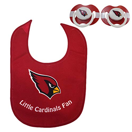 Official NFL Fan Shop Authentic Baby Pacifier Bib Bundle Set. Start Out Early in Joining The Fan Club Show Support Your Favorite Football Team (Arizona Cardinals)