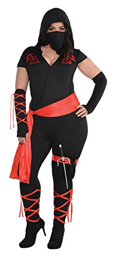 Dragon Fighter Ninja Costume - Plus Size - Dress Size (Ninja Fighter Hooded Costumes)