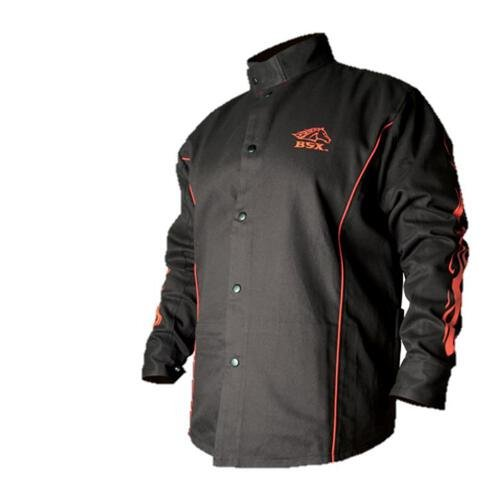 BSX Flame-Resistant Welding Jacket - Black with Red Flames, Size (Fr Welding Jacket)