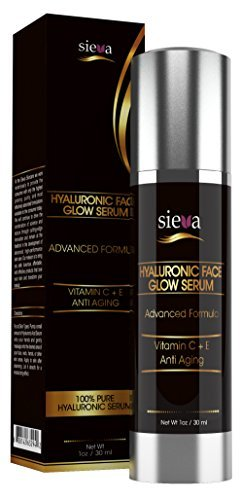Hyaluronic Face Glow Serum with Vitamin C+ A+ D+ E - 100% Pure Vegan Hyaluronic Acid Moisturizer for Skin. For Men and Women. Best Anti Aging and Anti Wrinkle Hyaluron Serum - Ultra Collagen Booster - 100% Satisfaction Guaranteed. A Must Have for Glowing Skin - 1 Oz - By Sieva Skincare