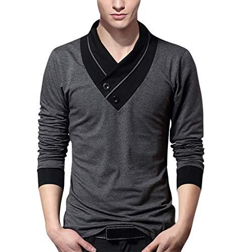 QBQCBB Men's Standing Collar Men's Long Sleeve T-Shirt Pure Blouse Top(Gray,XXXL) ()