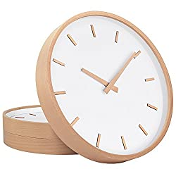 TXL Wall Clock Wood 12 Large Silent Non Ticking Wooden Wall Clocks with Stereo Scale, Battery Operated Round Digital Easy to Read Vintage Wooden Wall Clocks for Home/Office/School Clock(2)