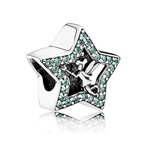 Pukido New 925 Sterling Silver Bead Charm Oepnwrok Tinker Bell Star with Crystal Beads Fit Women Pandora Bracelet Bangle DIY Jewelry