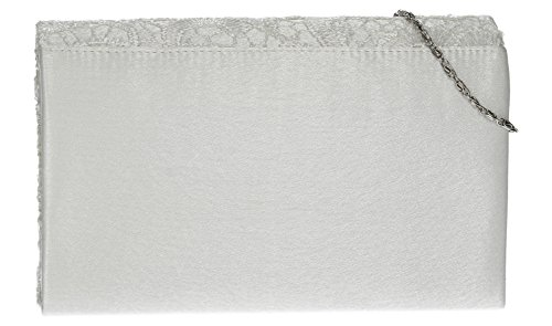 Silver Clutch Womens Bridal Wedding White Prom Party Envelope Lace Bag Holly 0PwHzE