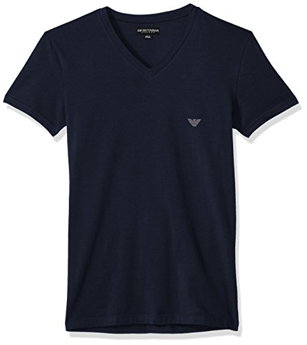 Colored Thermal Underwear - Emporio Armani Men's Metal Logo Band Vneck T-Shirt, Marine, S