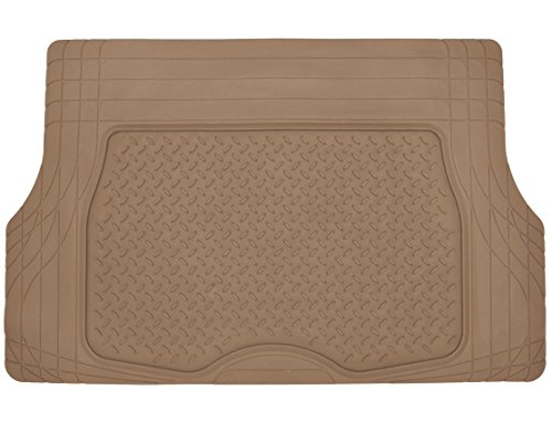 Motor Trend Heavy Duty Rubber Cargo Mat Trunk Liner for Car SUV Auto (Beige) - Odorless All Weather