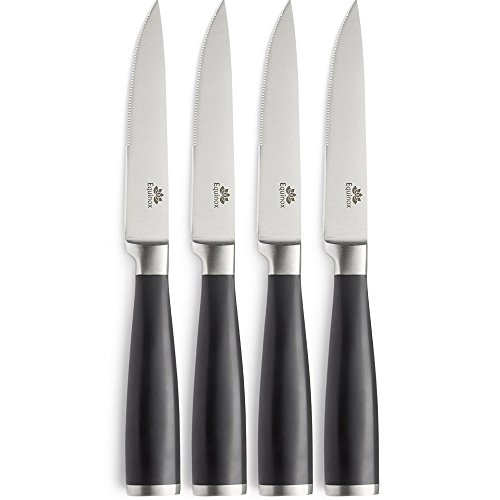 Equinox 4-Piece Stainless Steel Steak Knife Set, Serrated Steak Knives Set of 4 With ABS Handle