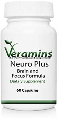 Neuro Plus Brain and Focus - Natural Formula for Memory, Focus, Concentration and Clarity - with Dmae, GABA, Green Tea Extract, Grape Seed Extract and Multivitamin for Men and Women
