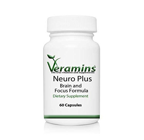 Neuro Plus Brain and Focus - Natural Formula for Memory, Focus, Concentration and Clarity - with Dmae, GABA, Green Tea Extract, Grape Seed Extract and Multivitamin for Men and Women by Veramins and Supplements