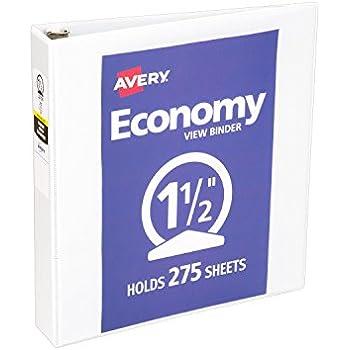 Avery Economy View Binder with 1.5 Inch Round Ring, White, 1 Binder (5726)
