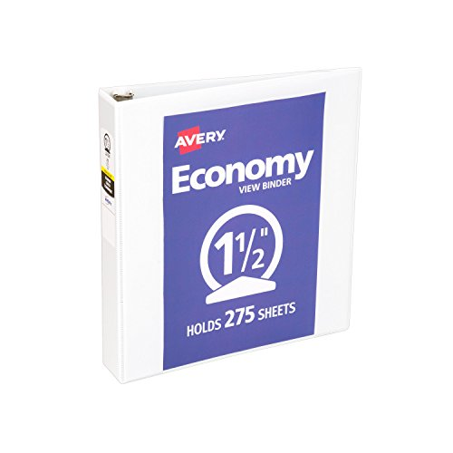 Smart Office Organizing (Avery Economy View Binder with 1.5 Inch Round Ring, White, 1 Binder (5726))