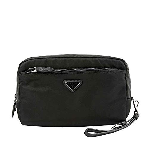 (Prada Black Fabric Cosmetic Pouch with Front Zip Pocket and Wrist Strap)