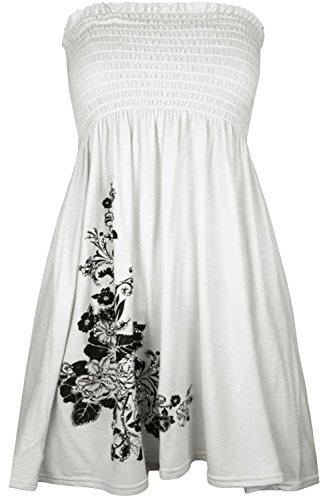 Mode Cima Les Femmes, Plus Floral Swing Paillettes Sheering Top Mini Robe Bandeau Blanc 8-18