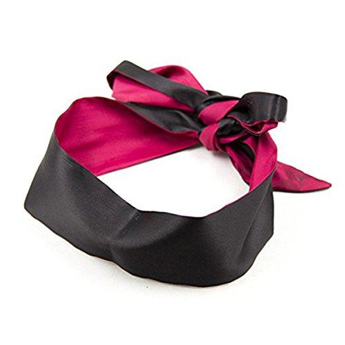 Soft Satin Eye Mask Blindfold Costume Sleeping Masks (Rose Red + Black)